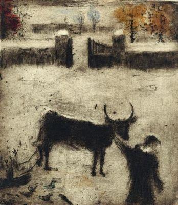 Bohuslav Reynek, Dvůr v zimě, II. 1955, suchá jehla s monotypem