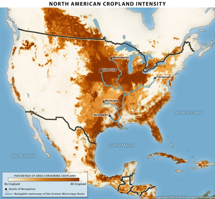 north american cropland intensity picture the keystone xl pipeline superimposed over it