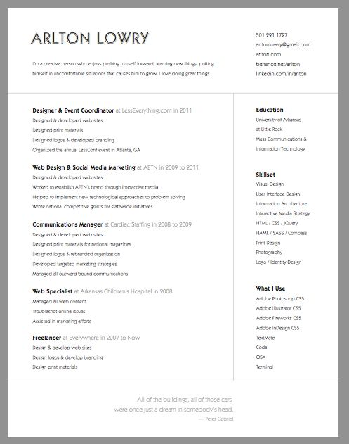 super simple and clean resume from  arlton lowry lowry  for more great resume ideas search aaron