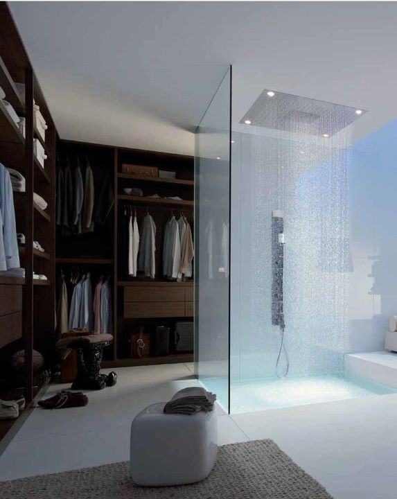 #masterbath yes! closet, but ours would be enclosed. Yay for ceiling showerhead and floor to ceiling glass. But, I would want glass that looked like industrial windows.