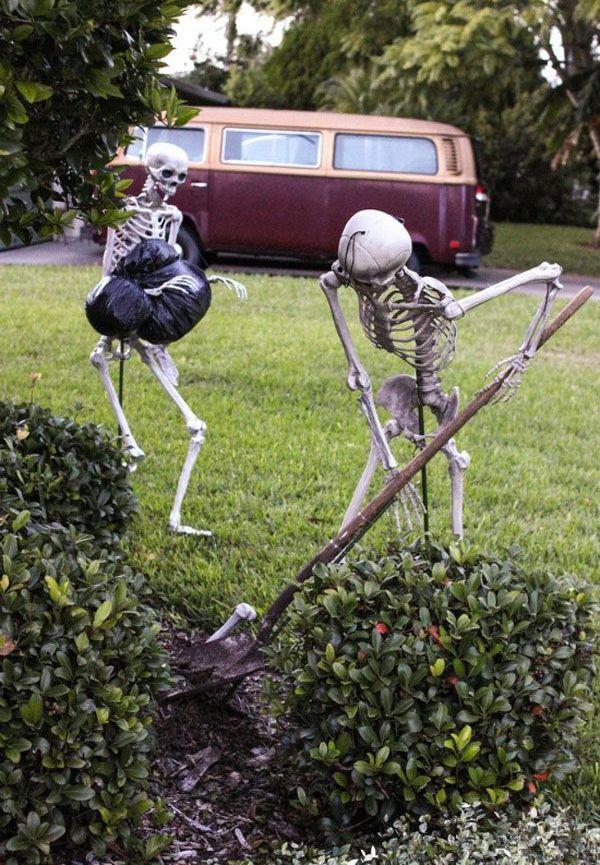 Homemade yard skeletons Halloween Decorations                                                                                                                                                                                 More