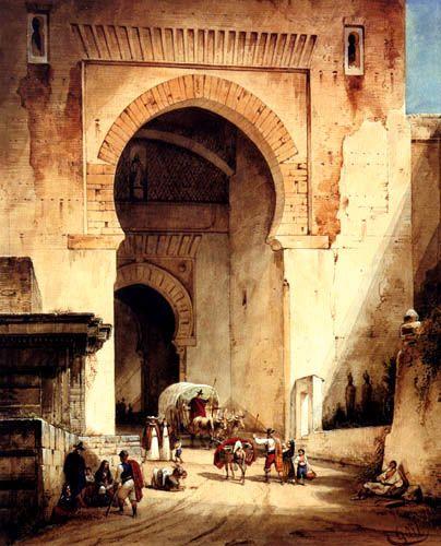 Wilhelm Gail    (1804-1890) - La puerta de la justicia en la Alhambra Granada  Spain
