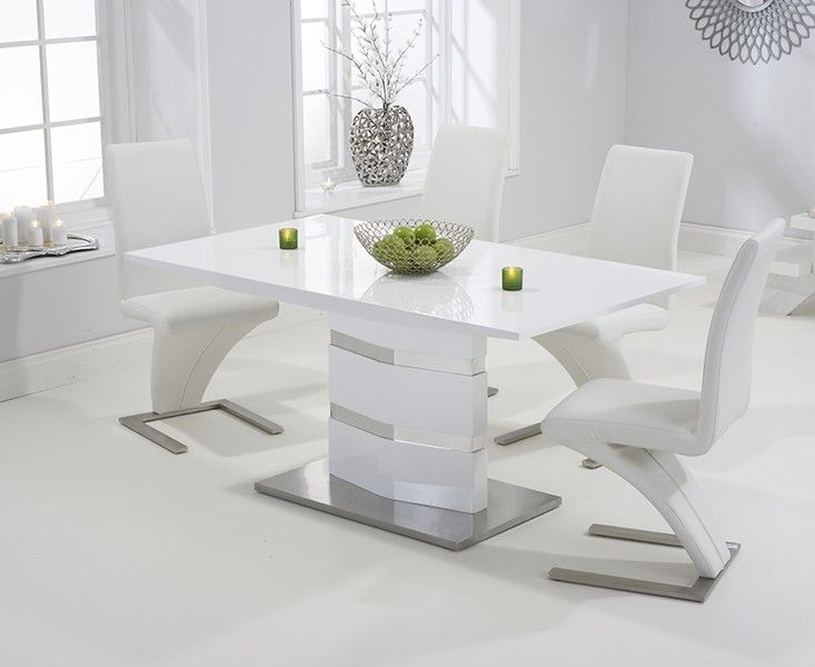 Buy the Serena 160cm White High Gloss Dining Table with Hampstead Z Chairs at Oak Furniture Superstore