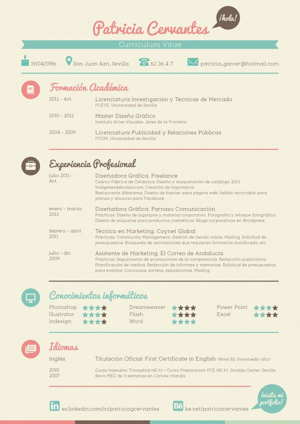 #Curriculum Vitae- by Patricia Cervantes, via Behance #empleo https://erafbadia.blogspot.com/ @erafbadia