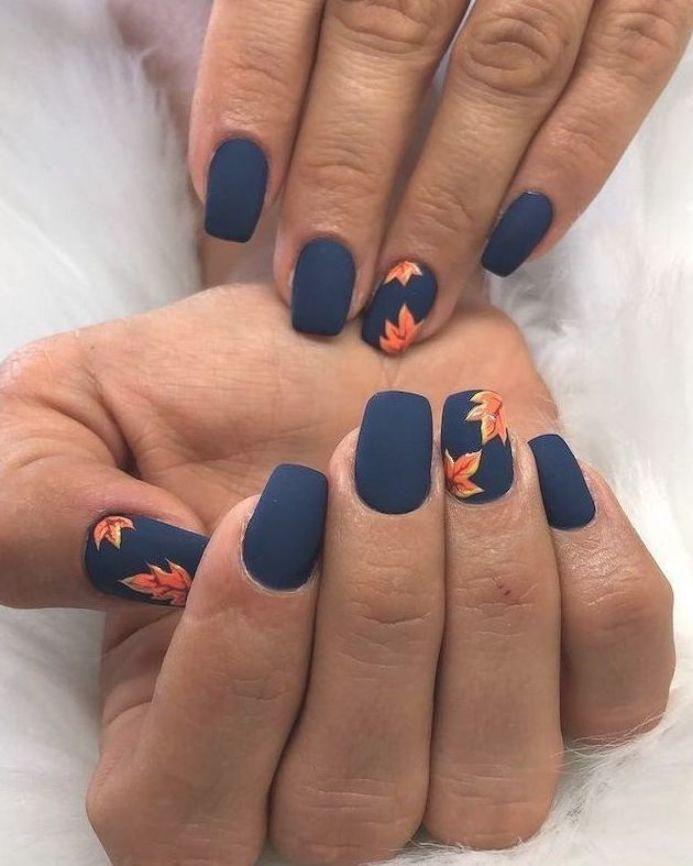 Dark Blue Matte Nail Polish Orange Leaves Spring Nail Designs Short Nails White Background In 2020 Matte Nails Design Blue Matte Nails Short Acrylic Nails