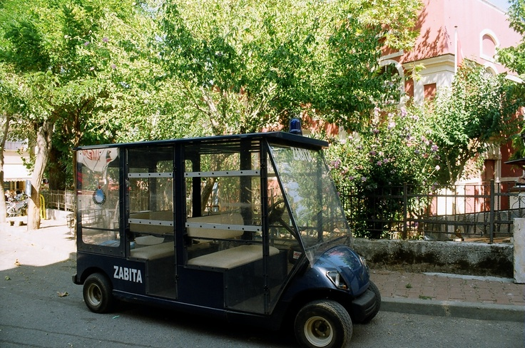 """Visit the Prince's Islands, a short ferry ride from Istanbul, for a quiet afternoon. No cars are allowed, only horse-drawn carriages and bikes. This is what the island police """"cars"""" look like."""