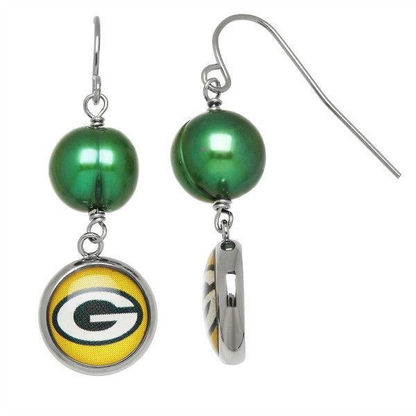"""Officially Licensed NFL """"Green Bay Packers"""" Freshwater Cultured Pearl and Logo Dangle Earrings"""