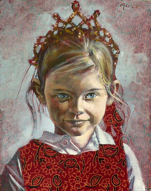 Princess Mars, by Nathan Florence-painted on printed fabric.