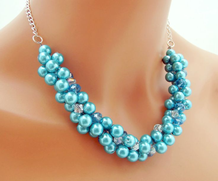 Chunky Blue Pearl Necklace, Bridesmaid Statement Necklace, Pearl Cluster Necklace, Turquoise Wedding Jewelry by CameronsJewelryBox on Etsy https://www.etsy.com/listing/230368526/chunky-blue-pearl-necklace-bridesmaid