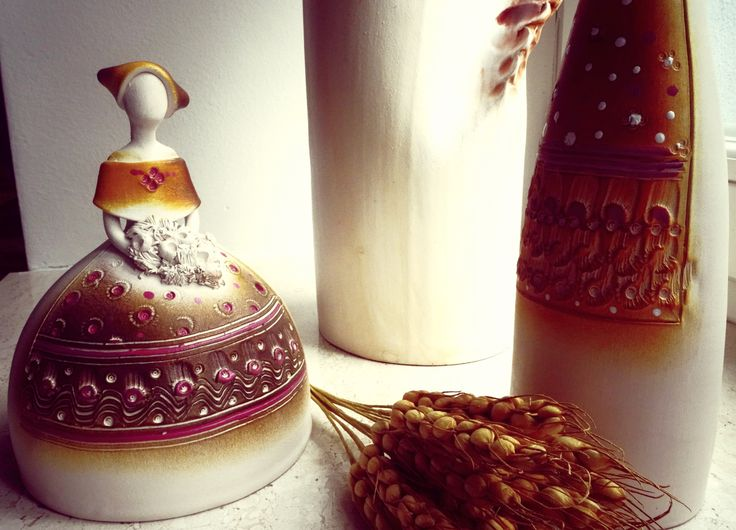 Ceramic traditional statue.../Slovak folk costumes / woman/ .. by M
