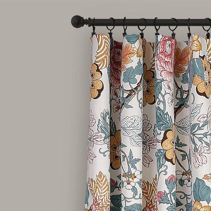 Dellaposta Floral Room Darkening Thermal Rod Pocket Curtain Panels