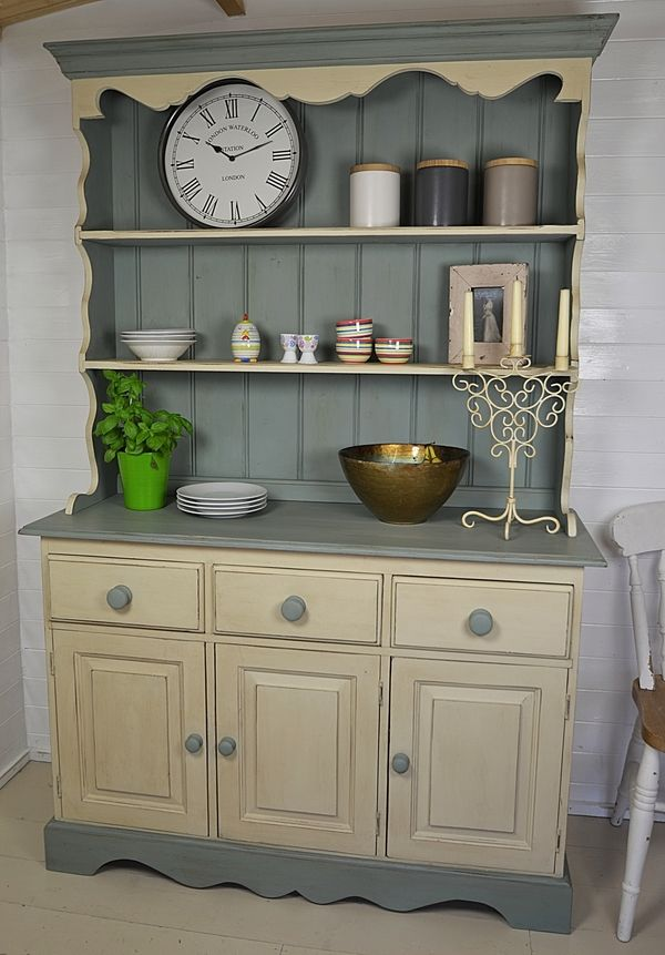 Shabby Chic 3 Door Welsh Dresser artwork AS duck egg blue and Old Ochre