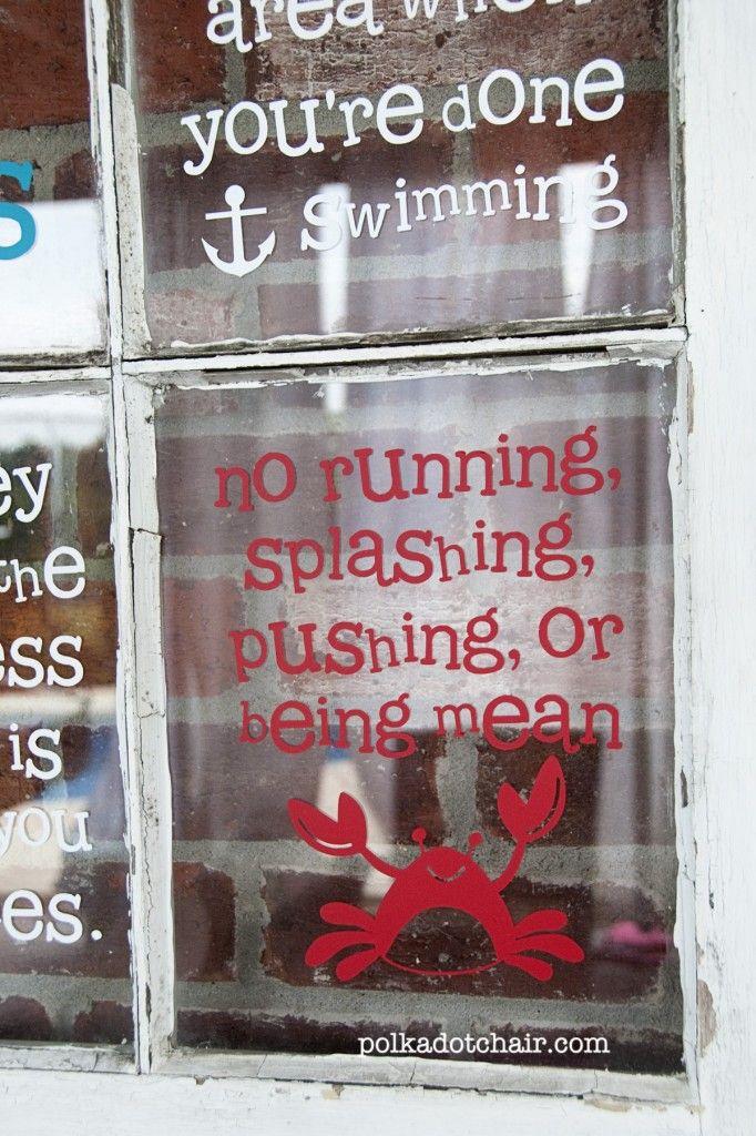 pool rules sign for @Kelly Teske Goldsworthy Teske Goldsworthy Gallagher- I like the idea of putting it on an old rustic window