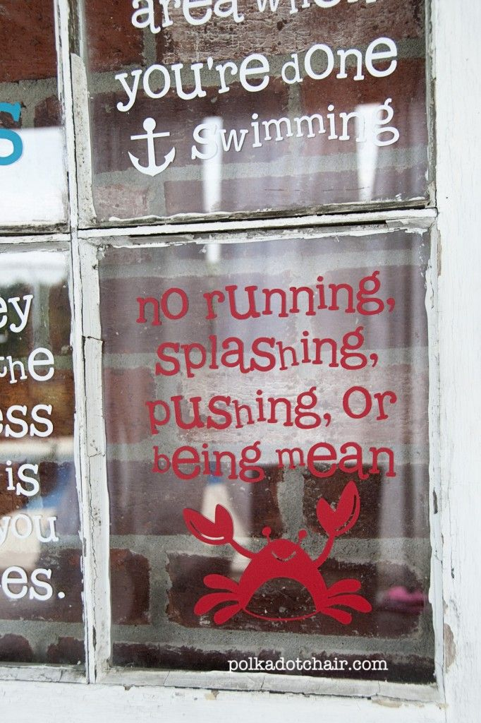 pool rules sign for @Kelly Teske Goldsworthy Gallagher- I like the idea of putting it on an old rustic window