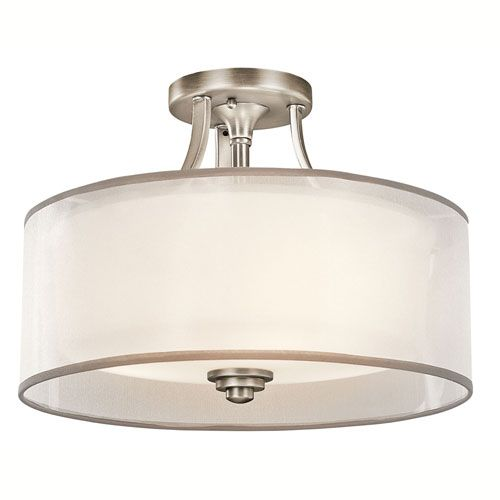Lacey Antique Pewter Three-Light Semi-Flush Mount