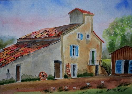 "© Gaudir13 ""Ferme en Lubéron"" Aquarelle 31 x 23 cm"
