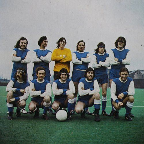 Team football with members of Pink Floyd, Roger Waters, Nick Mason, Richard Wright and David Gilmour