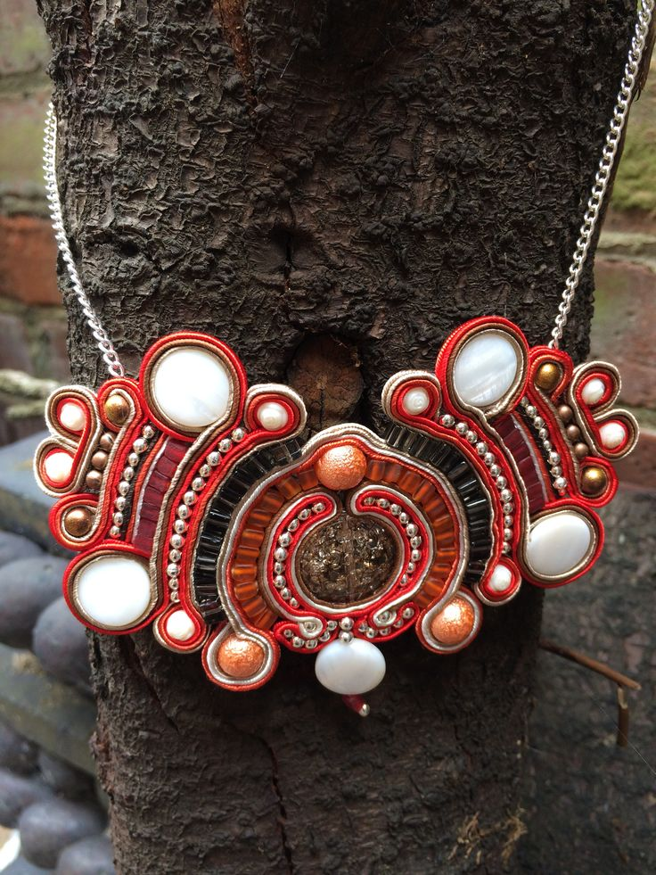Red soutache necklace from Sarai Tribal on Facebook