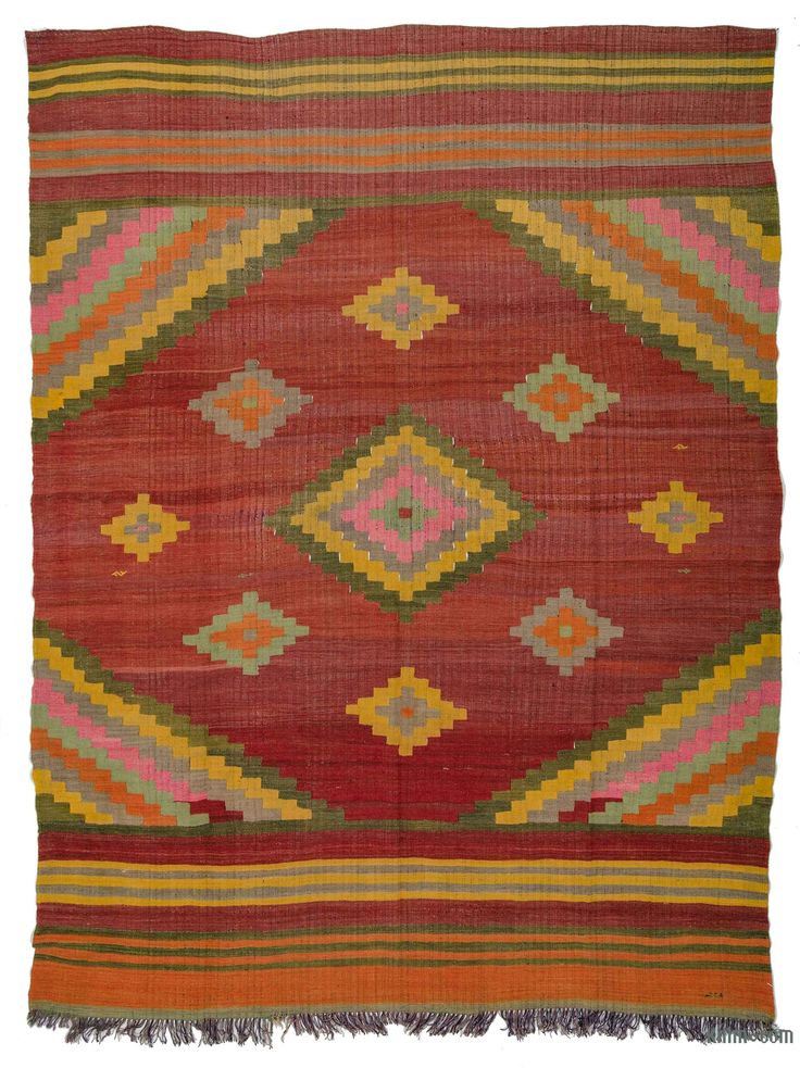 Vintage tribal kilim rug handwoven in Mihalic, a district of Eskişehir Province in the Central Anatolia region of Turkey in 1960's. This attractive kilim is in very good condition.