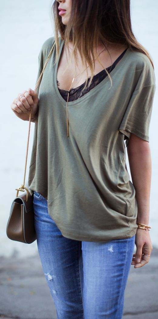 Khaki Basic Tee by Song Of style | Raddest Her Looks On The Internet: http://www.raddestshe.com