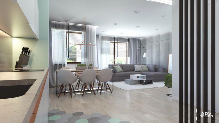 www.advdesign.pl 63m2_6 dining room kitchen wallpaper pendant lambert&fils hexagon mint grey