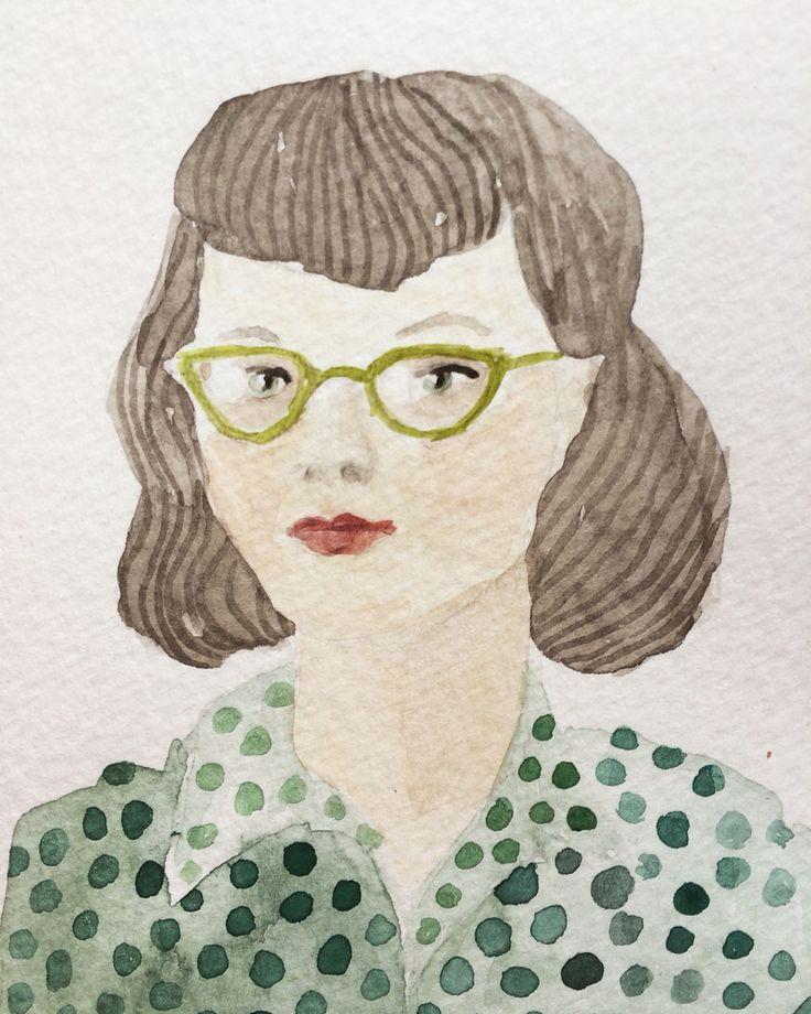 Girl with glasses Watercolour  Ingjerd Tufto Instagram @intu