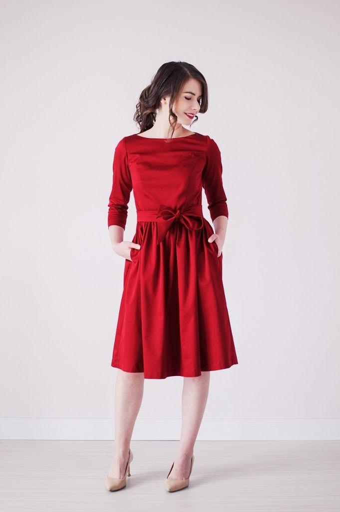 OUTLET - Sukienka Melia czerwona (węższy rękaw)