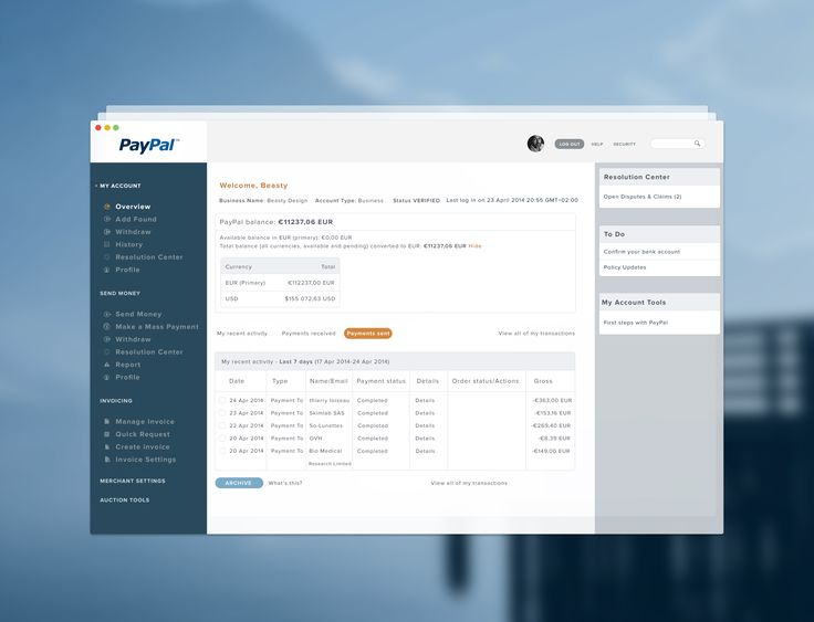 Paypal Dashboard style app by BEASTY