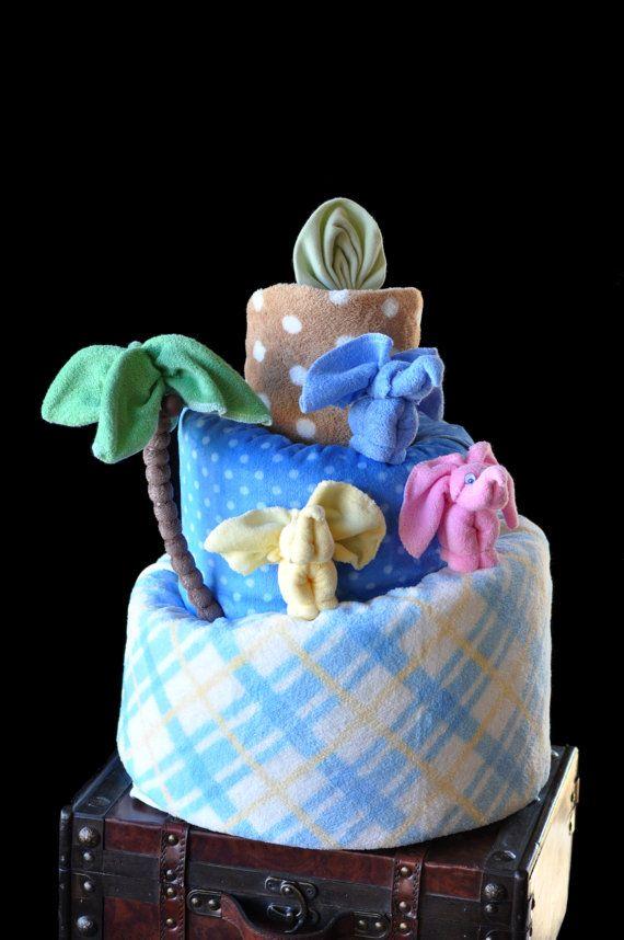 Torta de pañales bebé toalla elefante por TopsyTurvyDiaperCake