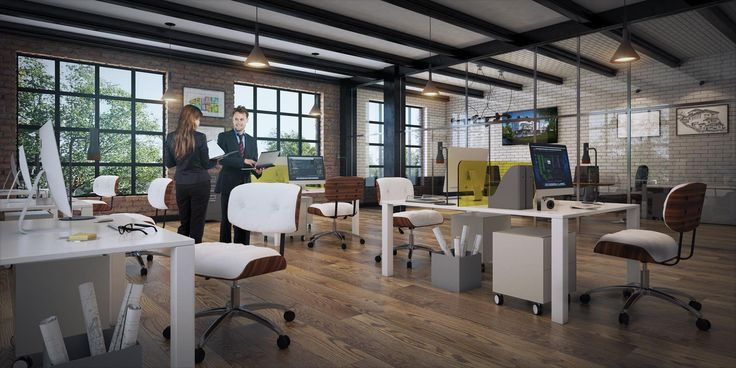 wizualizacja pomieszczenia biurowego w Warszawie