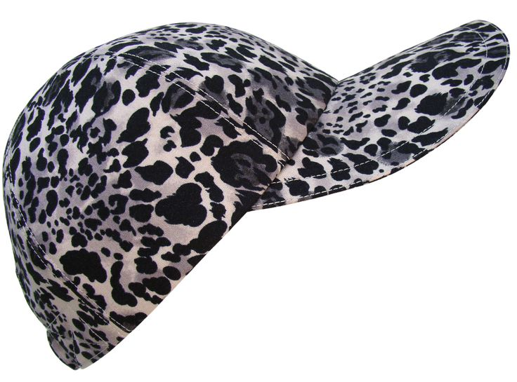 "Calico Caps : ""Alpha Cat"" - Classic Black White Silver Grey Gray Leopard Jaguar Ladies Baseball Cap Hat"