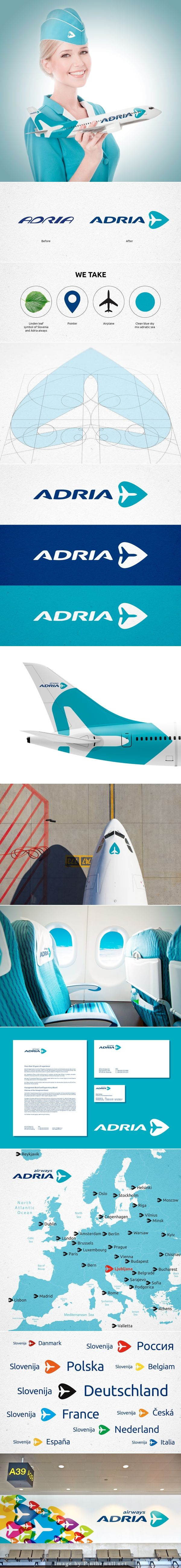 Adria Airways rebranding concept by Pit Palmer, via Behance