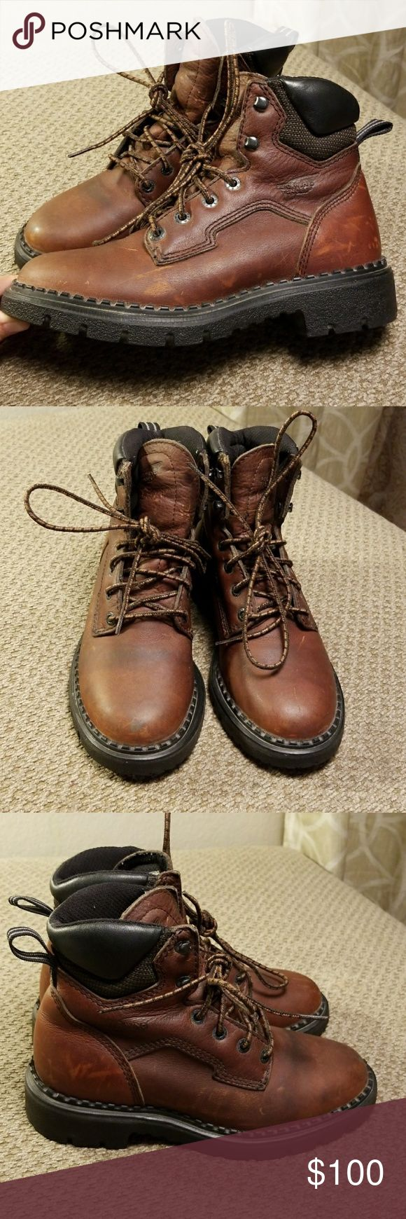 Red Wing womens work boots size 6 Great used condition. Some scuff marks. Womens size 6. Steel toe and oil resistant rubber sole. Stock #1626 Red Wing Shoes Shoes Ankle Boots & Booties
