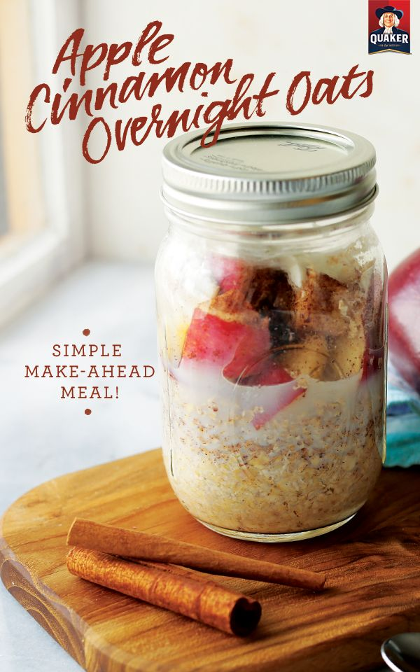 Every bite of Quaker® Apple Cinnamon Overnight Oats is a little bit of Fall fun in the morning! Mix equal amounts of milk and oats in a jar, seal it up, and refrigerate overnight. Your festive breakfast will be ready and waiting when you wake up.