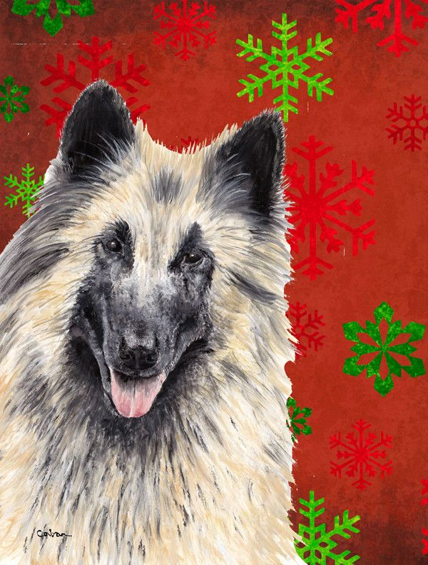 Belgian Tervuren Red Green Snowflakes Holiday Christmas House Vertical Flag