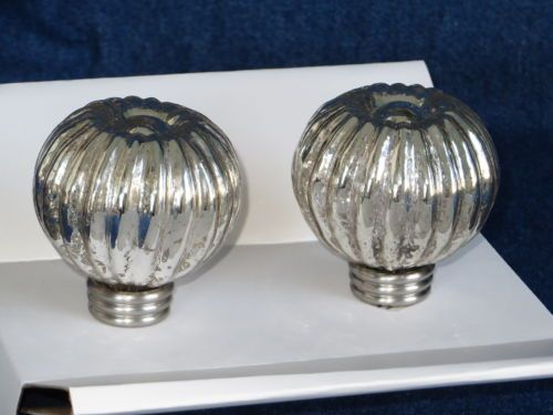 2 Pottery Barn Kids Finials Mercury Glass Silver Curtain Rod Hardware Window New