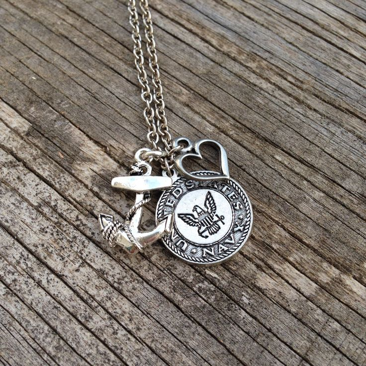 U.S. Navy Necklace / Navy Wife / Navy Girlfriend / Navy Mom / Navy Sister / JROTC / silver / beads / charms by CADETcouture on Etsy @rileydircks