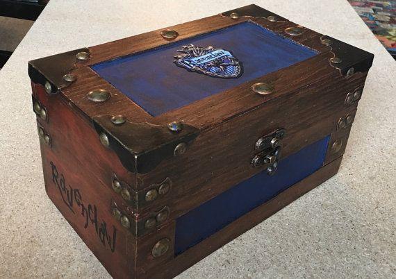 KLEINE Ravenklauw Harry Potter geïnspireerd Steamer Trunk Keepsake Box, juwelendoos, Stashbox, Zweinstein, Hermelien, Sneep, Perkamentus, Wizard