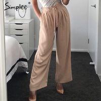 Simplee Женский молния случайные штаны капри брюки Ремень широкие брюки ноги женщины брюки Лето шифон высокой талии брюки