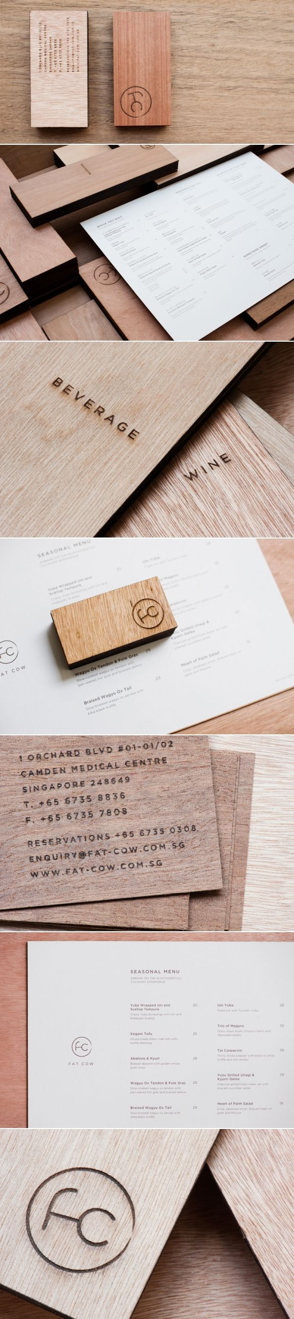 Corporate design logo business card identity wood meat
