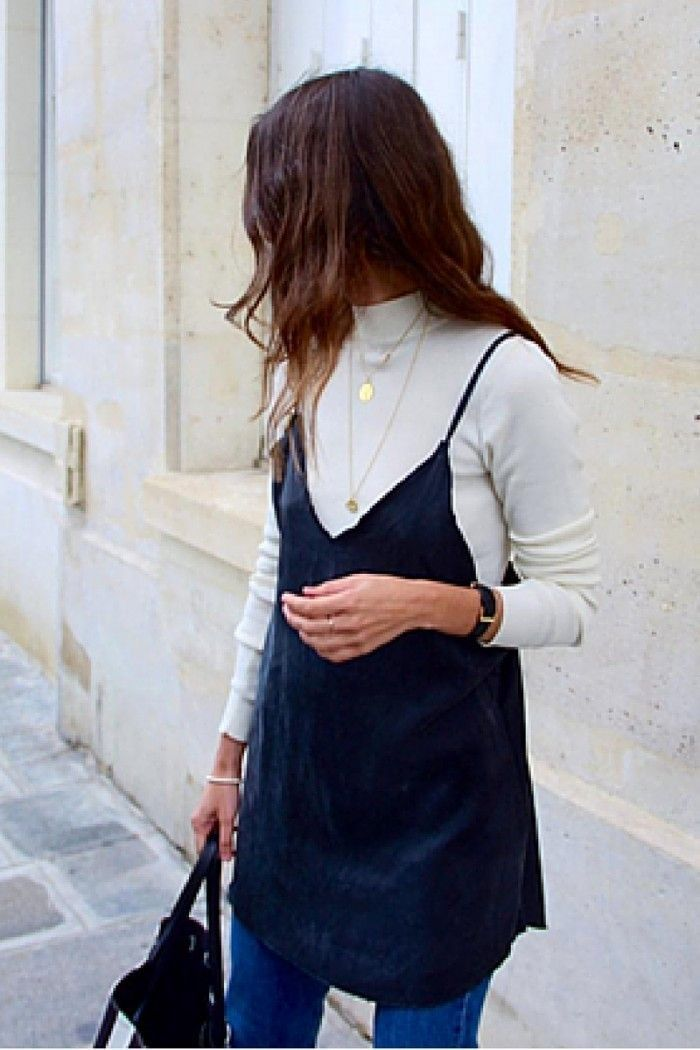 First up try wearing your slip dress over a polo neck, this will add an air of sophistication to the slinky slip dress. Top your outfit off with some shiny gold layering necklaces for some extra glamour. This look will take you from daytime office wear right through to an after work dinner or event.