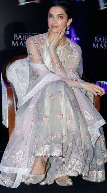 Deepika Padukone Anarkali Bajirao Mastani Promotions