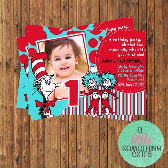 dr seuss birthday invitations | Dr. Seuss Invitation- Cat in the Hat Birthday Invitation-Printable ...