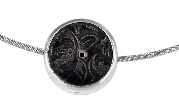Morris pendant in etched copper, sterling silver and stainless steel