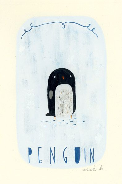 "Penguin - Original painting, 6""x4"" by Mark B (wintersmoke) on Etsy, $30.00"