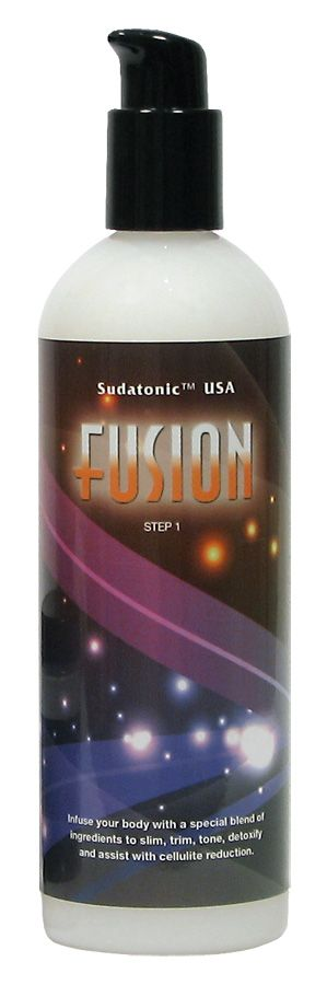 FUSION™ - Toning & Detox Lotion Stimulate your skin with a special blend of ingredients to slim, trim, tone and tighten. Fusion is a self application product formulated to work best during an infrared body wrap session. This lotion's special blend of ingredients was chosen for their ability to assist in body detoxification as well as fat and cellulite reduction. Apply approximately one ounce to the entire body just before an infrared session. Apply again after showering.