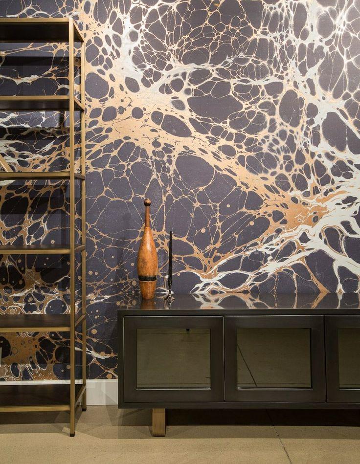 Calico Wallpaper - Night Indigo