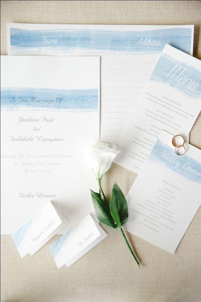 White and blue invitation for a beach wedding   Project by Tirtha Bridal http://www.bridestory.com/tirtha-bridal/projects/breeze-aegean-sea-theme