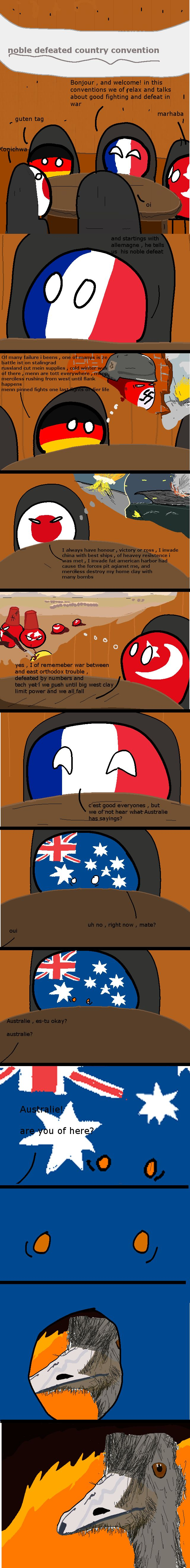 """The Great Emu War """"The Epic Defeat Relaxation Convention"""" ( France, Germany, Japan, Turkey, Australia ) by bluegad6 #polandball #countryball"""