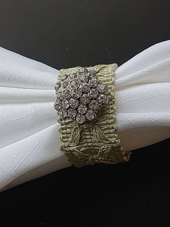 OOAK MINT GREEN Cotton Napkin Rings by CustomNapkinRings on Etsy